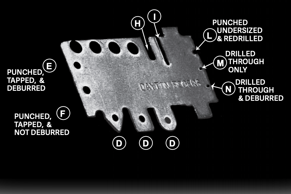 a chart showing various holes in metal
